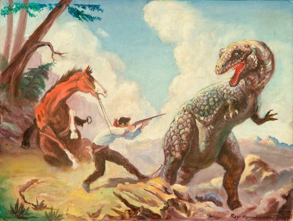 Allosaurus Attacking a Cowboy