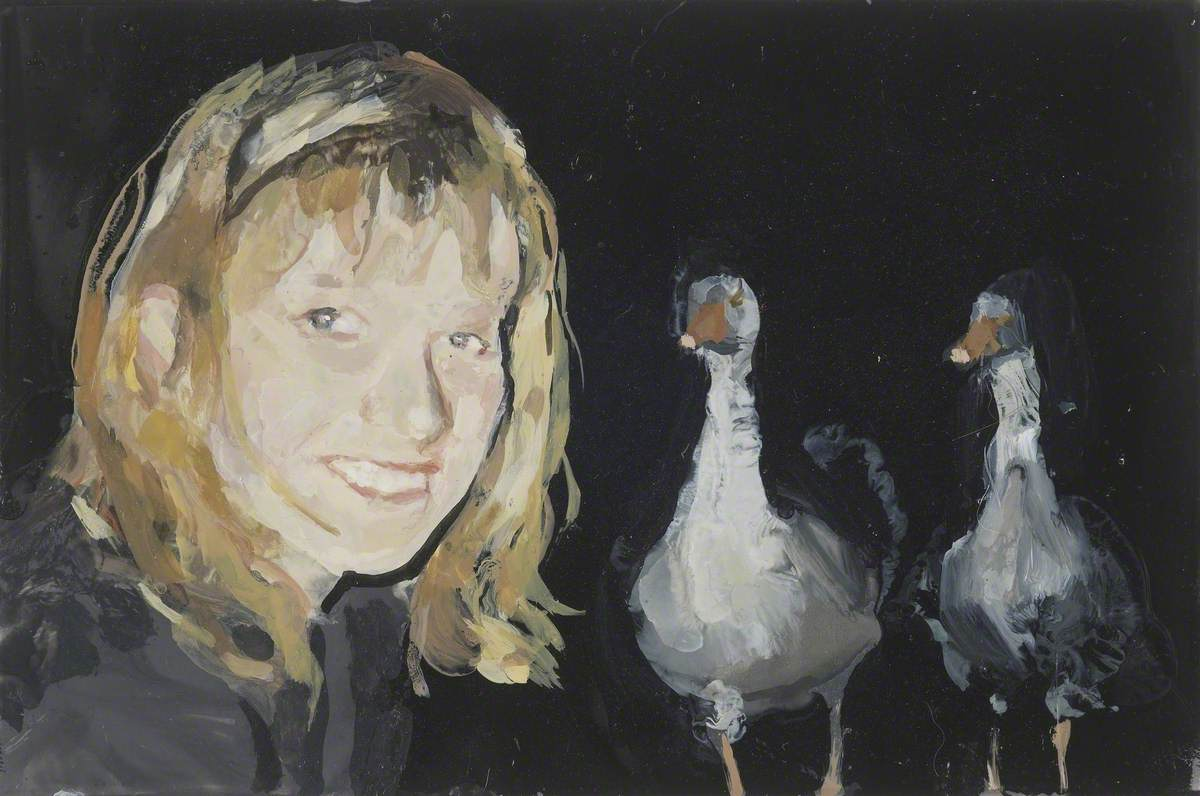Self Portrait with Two Gossipy Birds