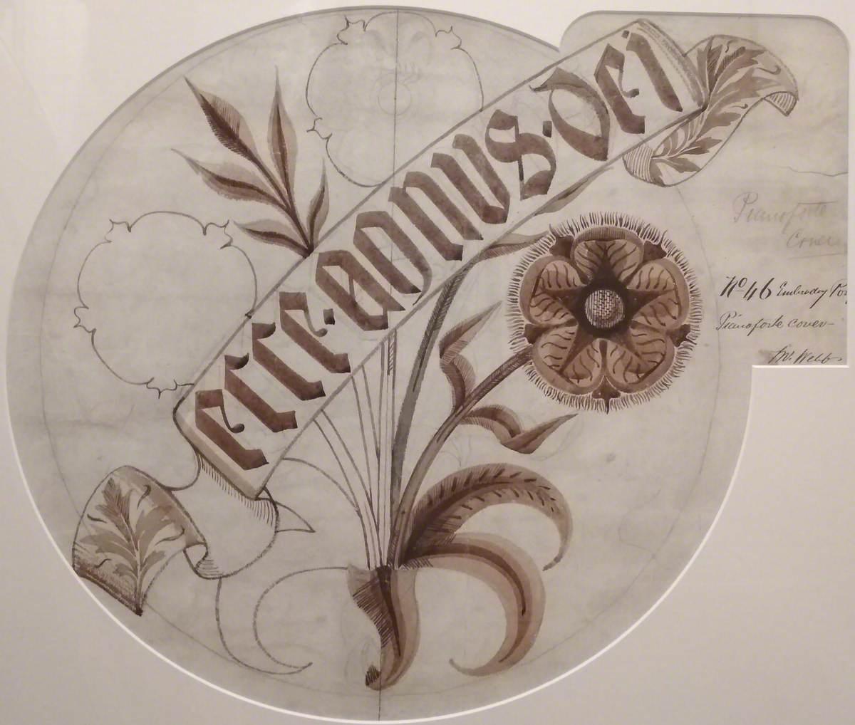 Design for 'Ecce Agnus Dei' Embroidered Piano Cover