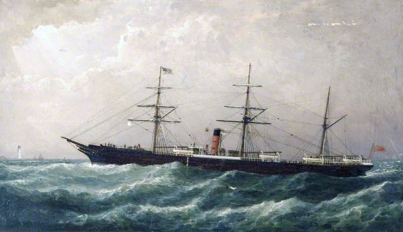 Cunard Steamer Passing a Lighthouse