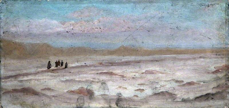 Desert Landscape with Figures and Distant Mountains