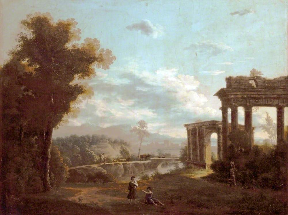 Classical Landscape with Ruins and Two Figures