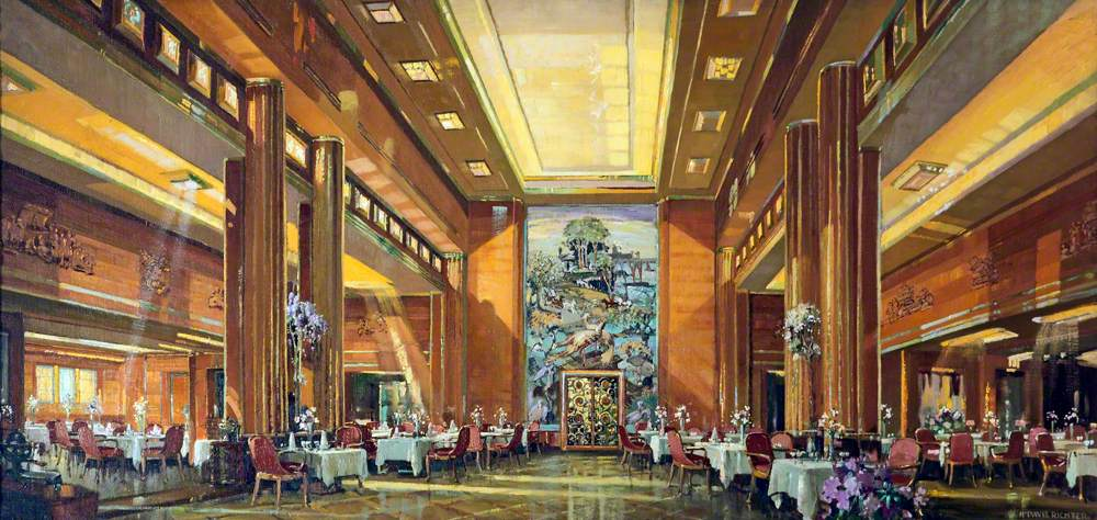 First Class Dining Room of the 'Queen Mary'