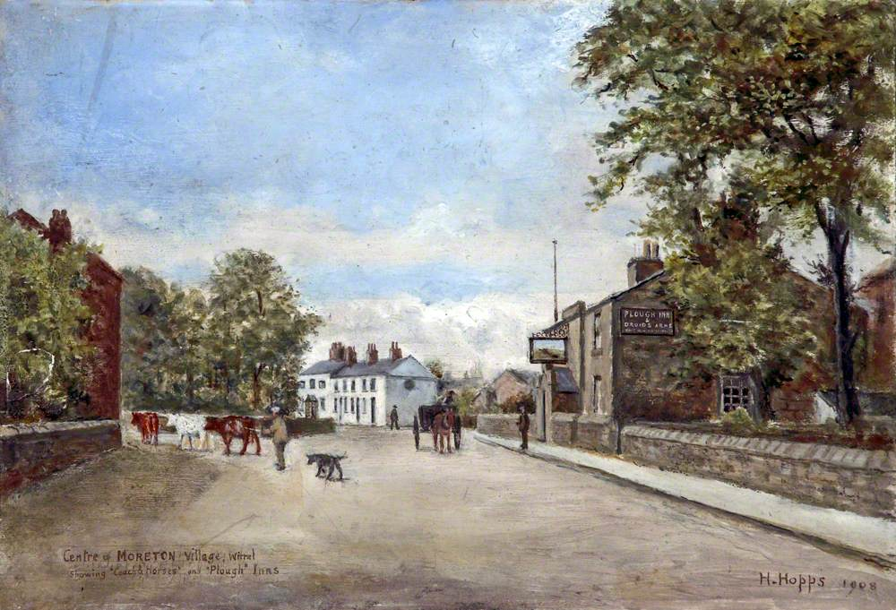 Moreton Cross, Showing 'Coach & Horses' and 'Plough' Inns