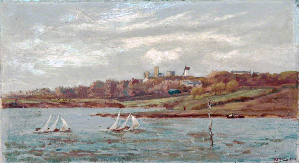 Wallasey Pool and a View of Wallasey, Showing the Last Race of the Claughter Model Boat Club