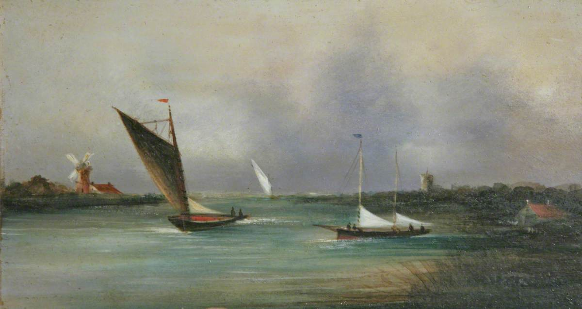 Three Yachts and a Wherry on a Broad