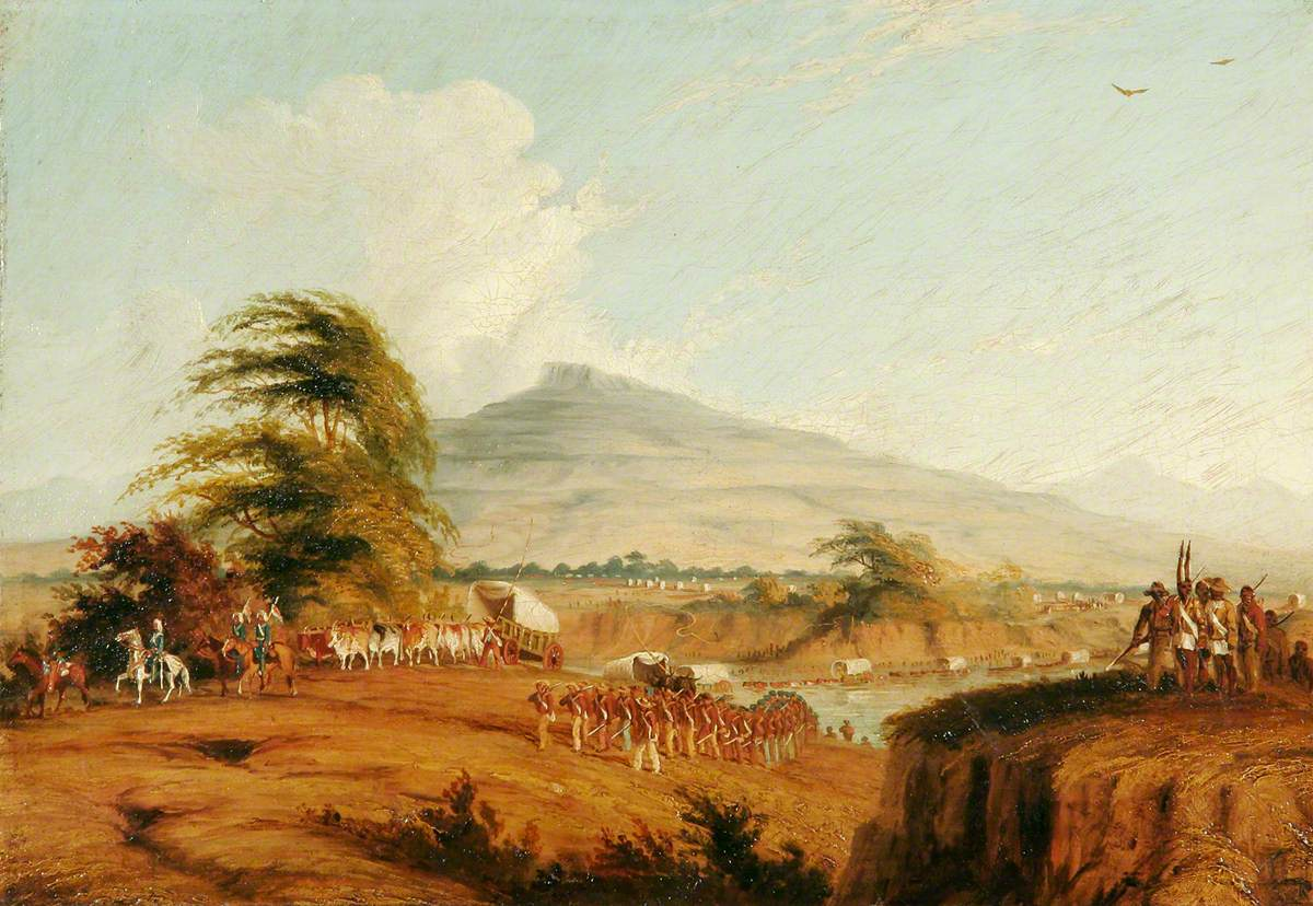Forces under the Command of Lieutenant General Cathcart Crossing the Orange River, South Africa, to Attack Moshesh, 1852