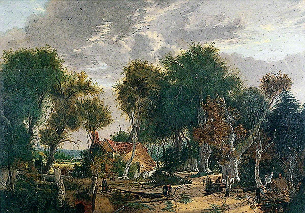 Scene in Crown Point Wood with Woodcutters