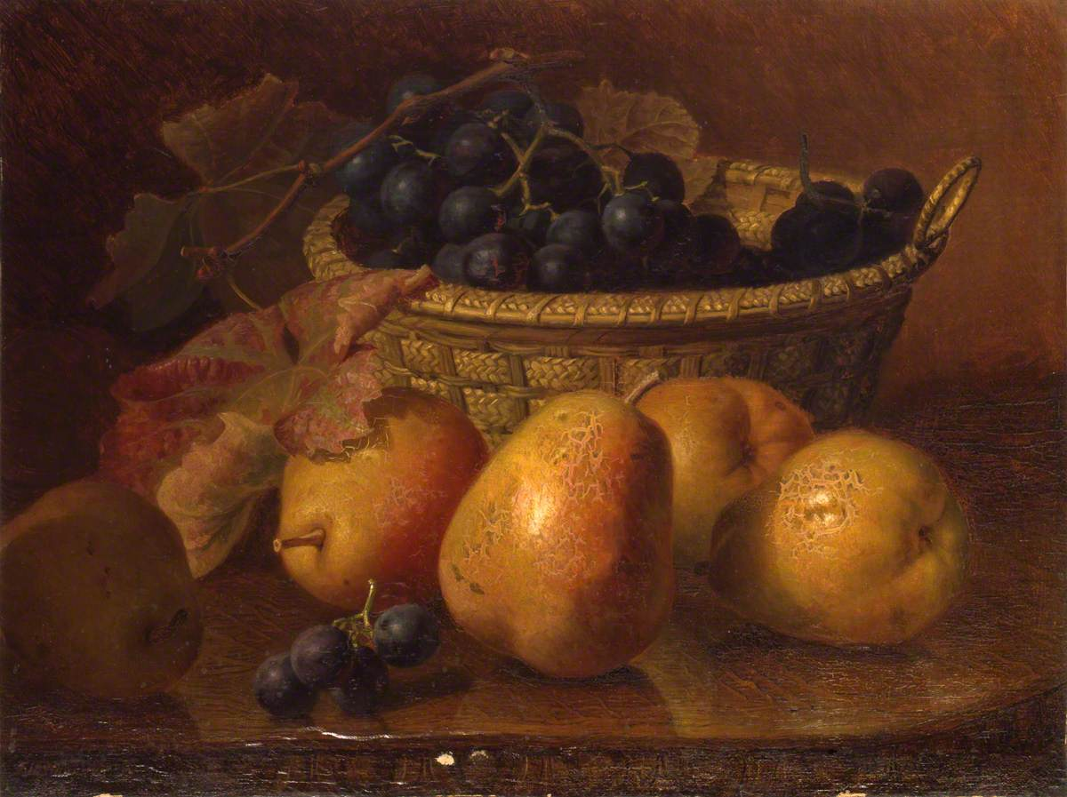 Duchess Pears with Black Grapes in a Basket