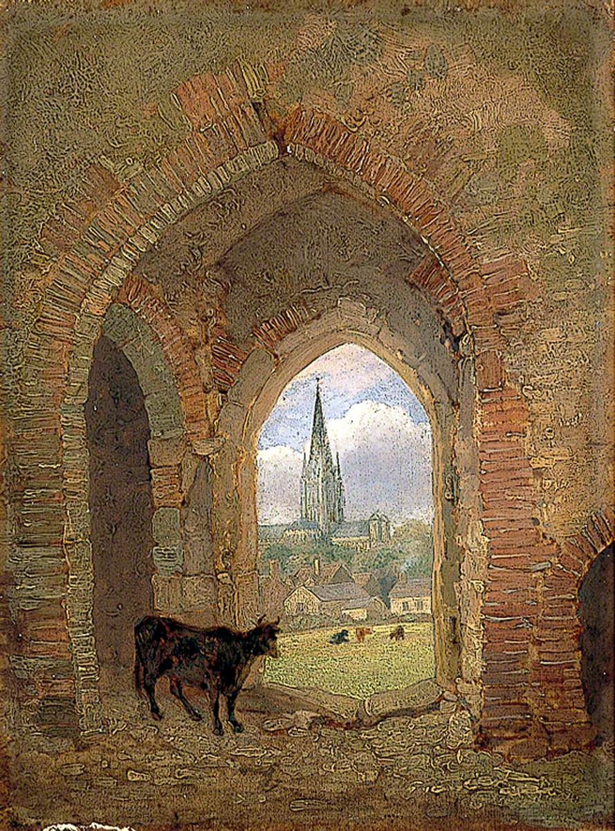 View through the Archway of the Cow Tower, Norwich, Showing the Dean Meadow