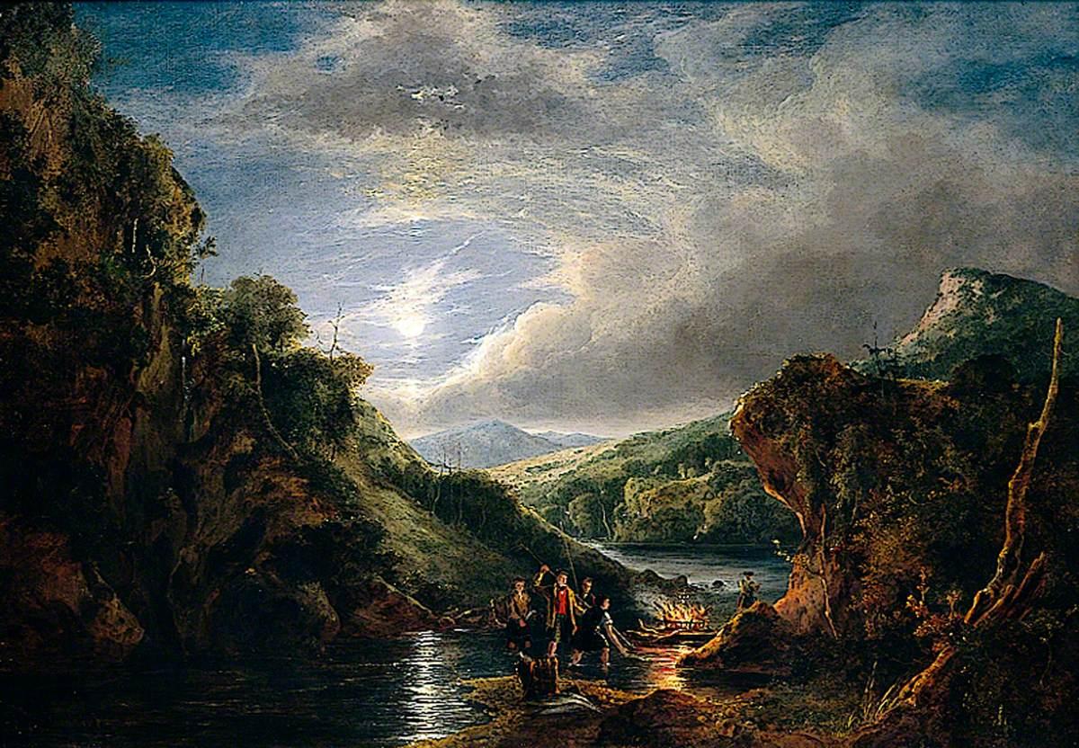 Entrance to Loch Katrine, Moonlight, Highlanders Spearing Salmon