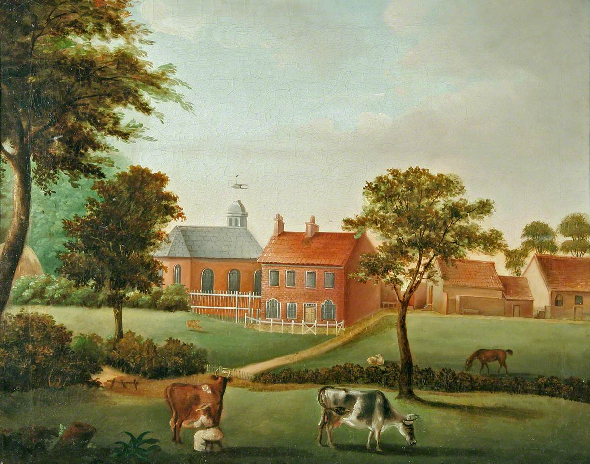 Naïve Painting of a Farmhouse with Outbuildings and Farm Animals in Foreground