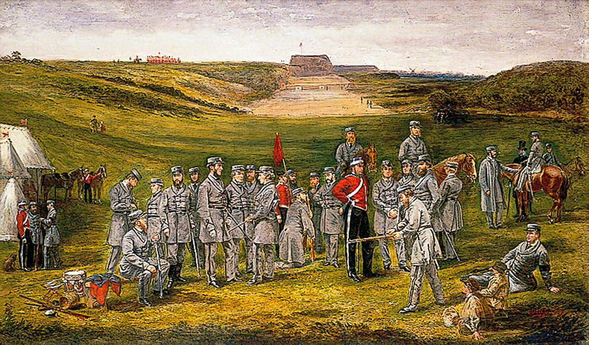 Officers of the 1st City of Norwich Rifle Volunteers, with Their Captain Henry Staniforth Patteson, on the Rifle Range, Mousehold Heath