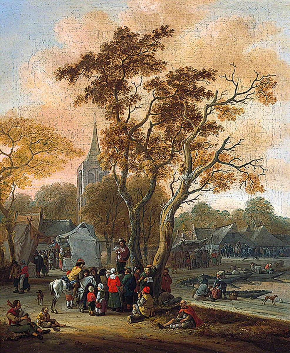A Village Fair with a Mummer in the Foreground