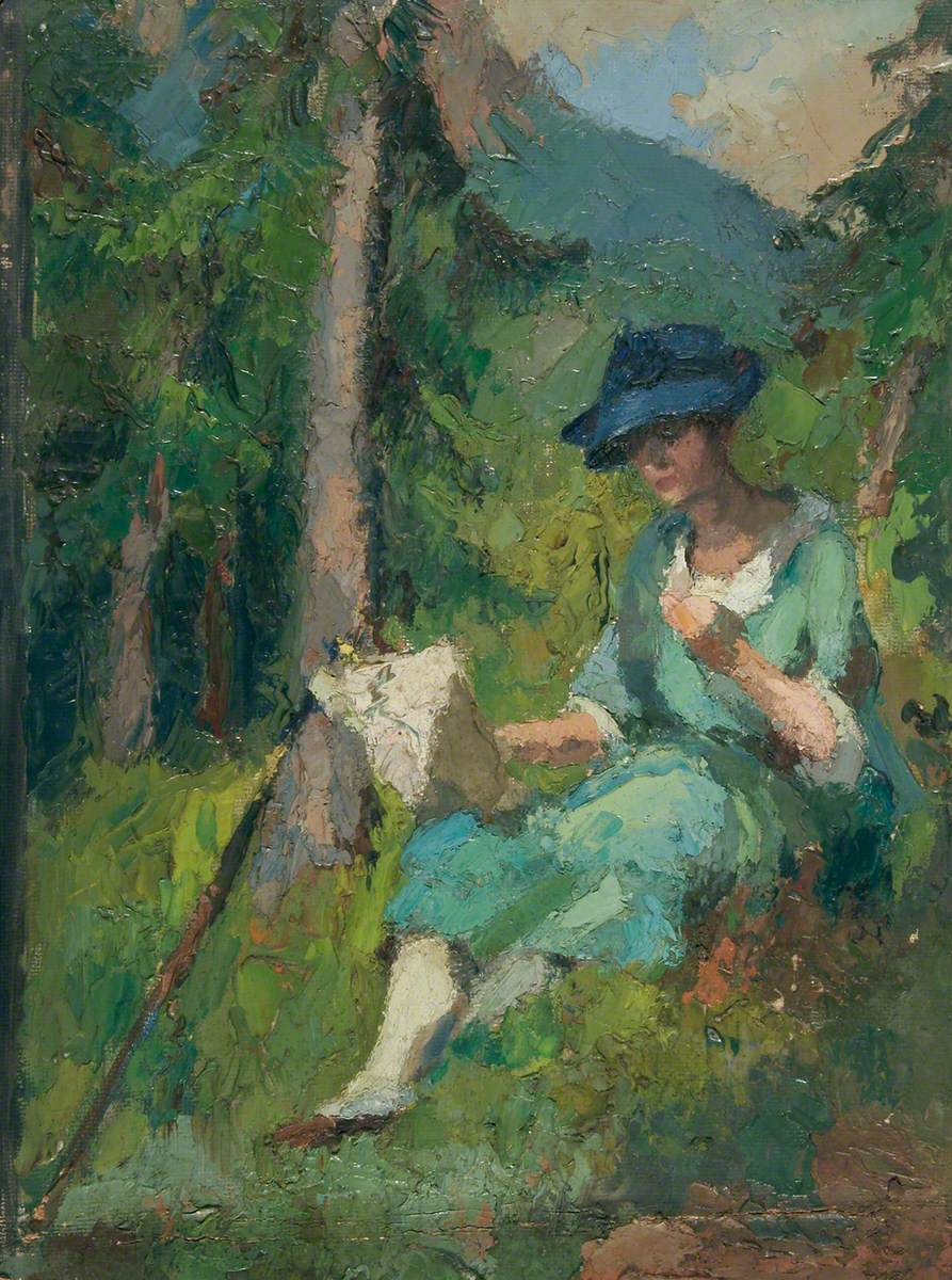 Sketch of a Seated Woman in a Blue Hat