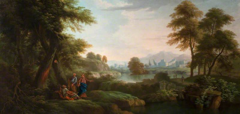 Classical Landscape with Trees and a Lake