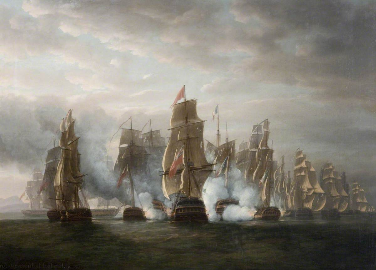 'Pursuit of the French Squadron after the Surrender of La Hoche 84 and Coquille 44, with The Action of the Ethalion and Bellone and the Anson, bearing down upon the Van Ships of the Enemy, (Oct. 12th 1978)'