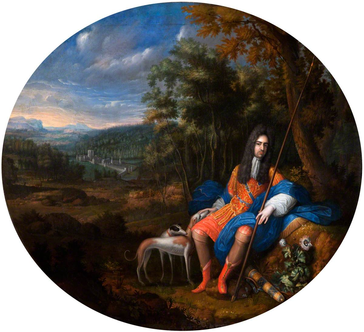 Thomas, Lord Coningsby (1656–1729), Seated in a Romantic Landscape, with a View of the North Prospect of Hampton Court in the Background
