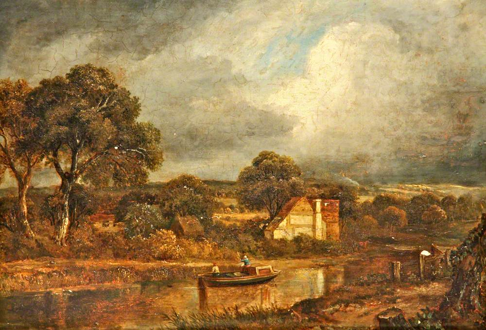 River Scene with a Barge and Cottages