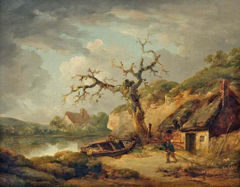 Lake Scene and a Cottage