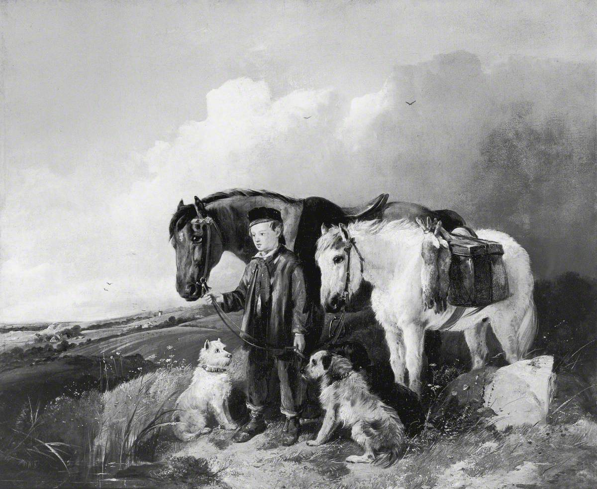 Boy Leading a Riding Horse and a Pony with Hares at the Saddle, and Three Dogs, in an Open Landscape