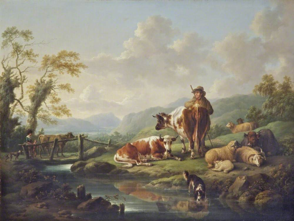 Landscape with Cattle by a Stream with a Drover
