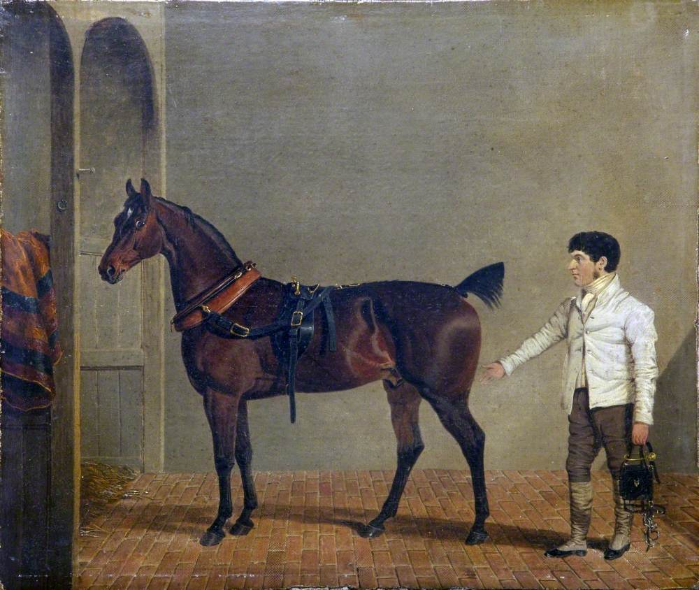 A Harnessed Carriage Horse, with a Groom, in a Stable