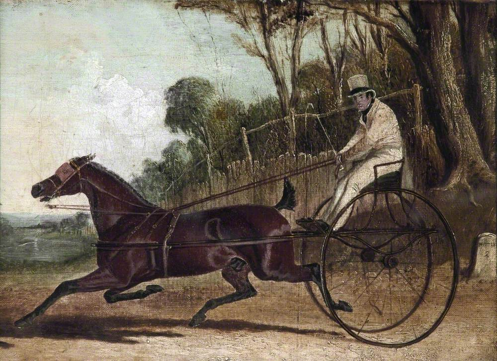 'Rattler', a Trotting Horse, Harnessed to a Buggy