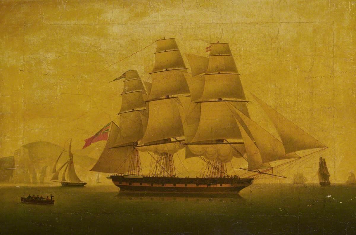 'Hibernia' Beating off the Privateer 'Comet', 10 January 1814: Starboard Broadside