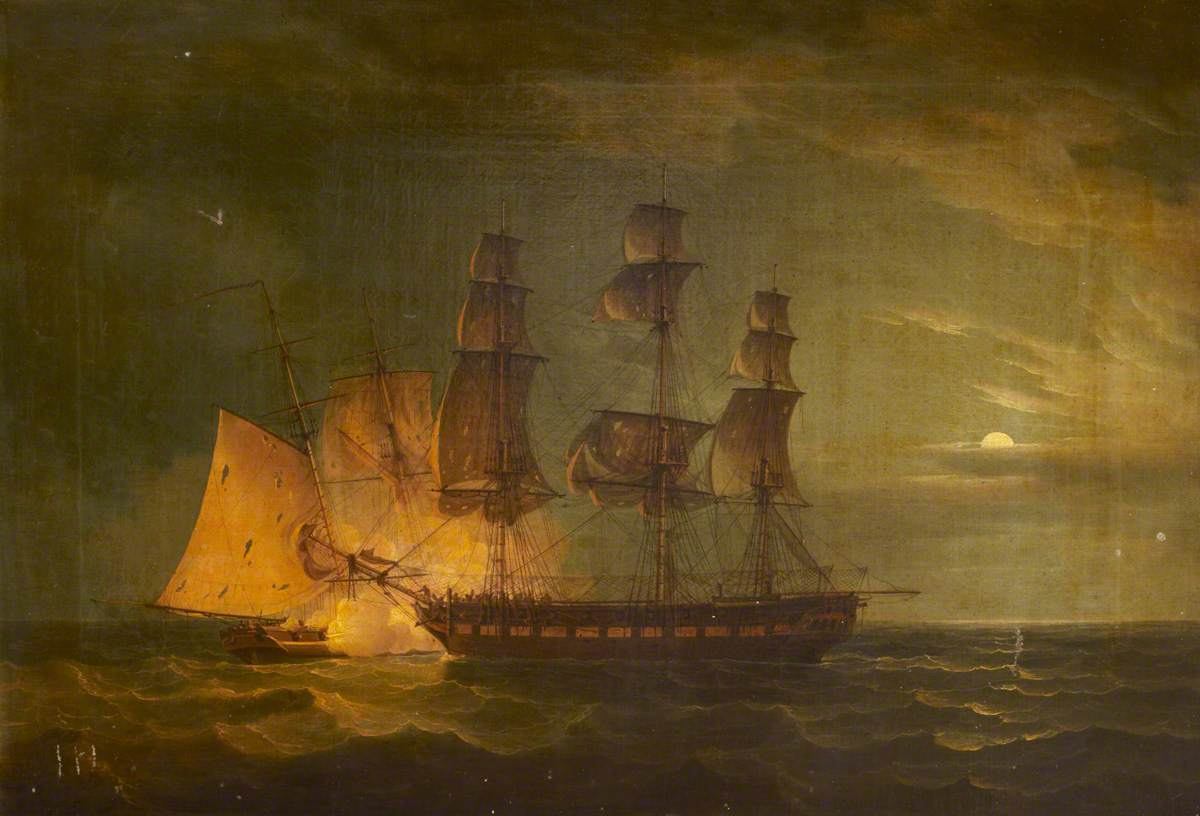 'Hibernia' Beating off the Privateer 'Comet', 10 January 1814: Port Broadside, Night