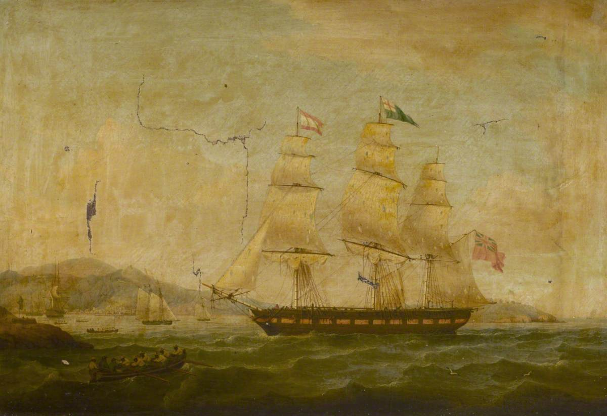 'Hibernia' Beating off the Privateer 'Comet', 10 January 1814: Returning to Port