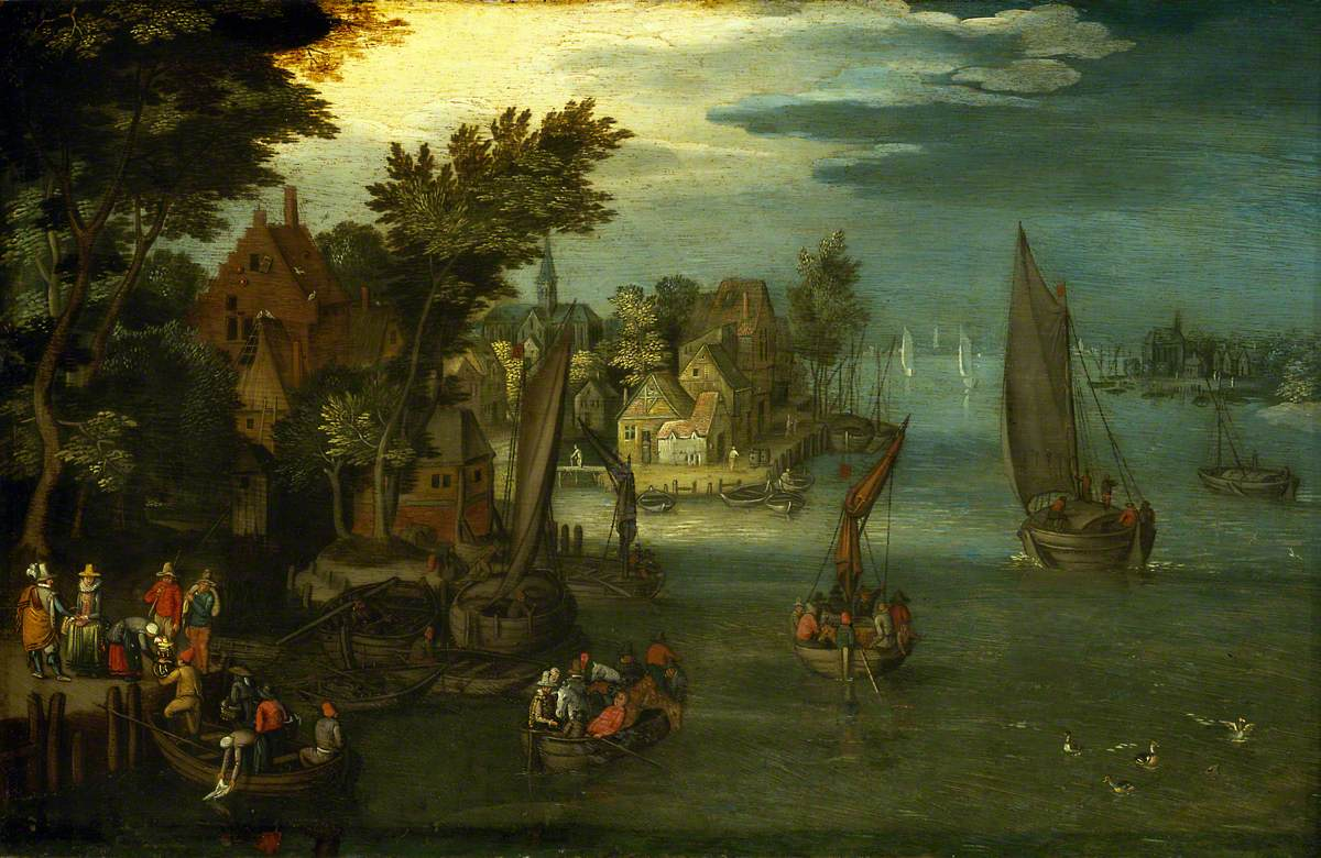 A Busy River Scene with Dutch Vessels and a Ferry
