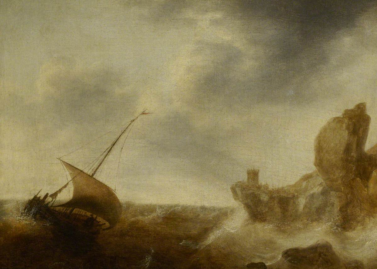 A Small Vessel Beating off a Rocky Coast