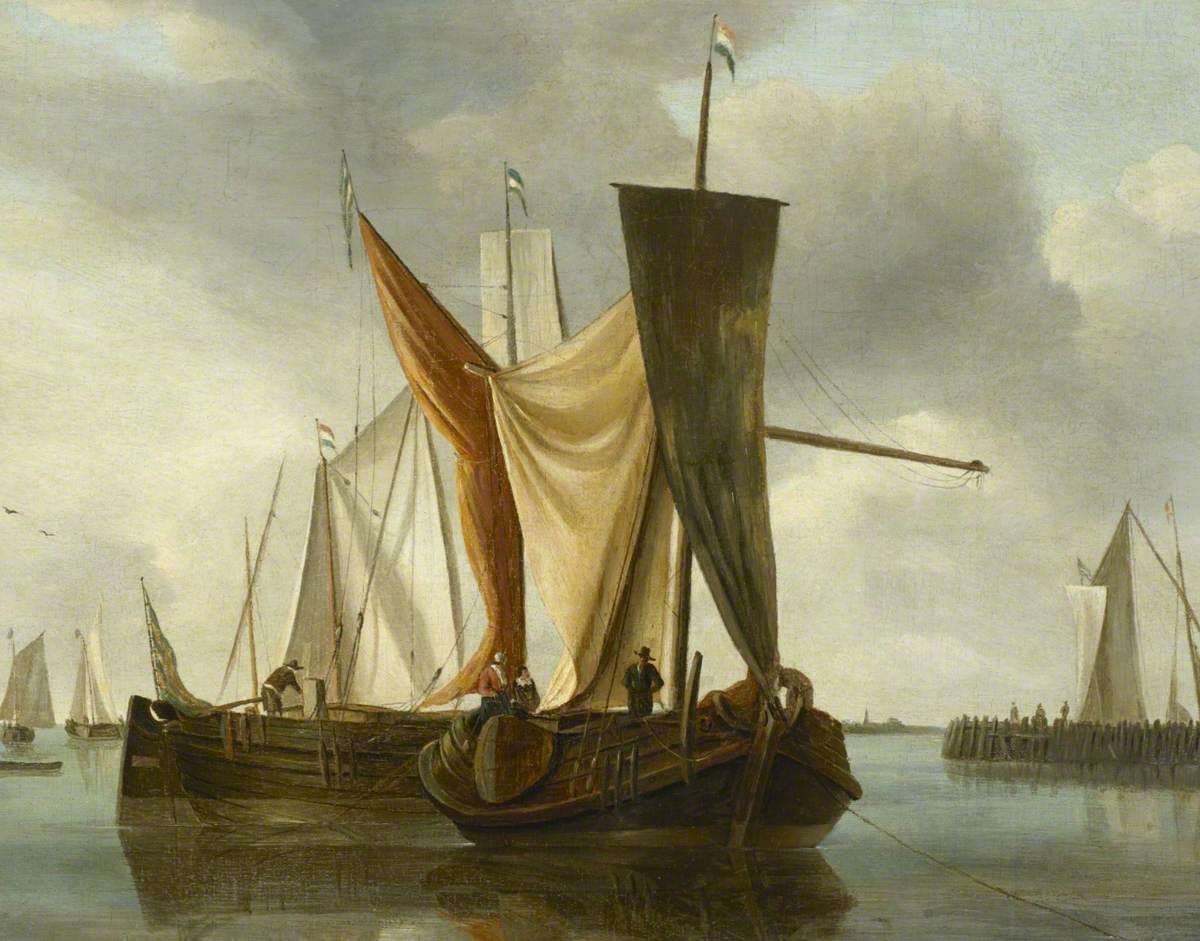 Dutch Fishing Boats Becalmed near a Jetty