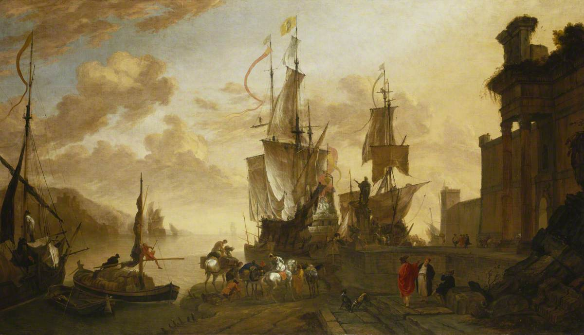 Italianate Harbour Scene with the Monument of Ferdinand I de' Medici at Leghorn