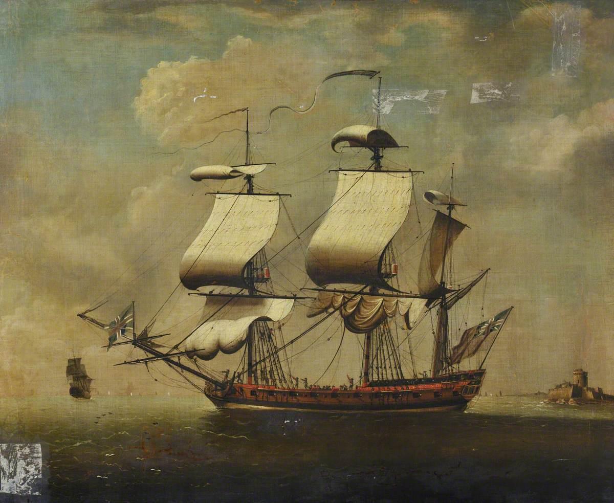 A Frigate Taking in Sail