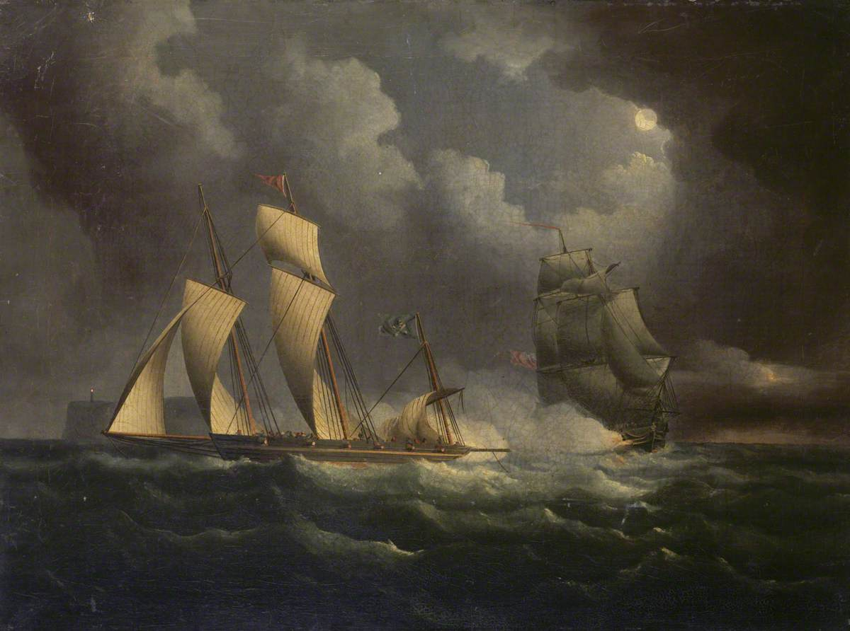 A Smuggling Lugger Chased by a Naval Brig
