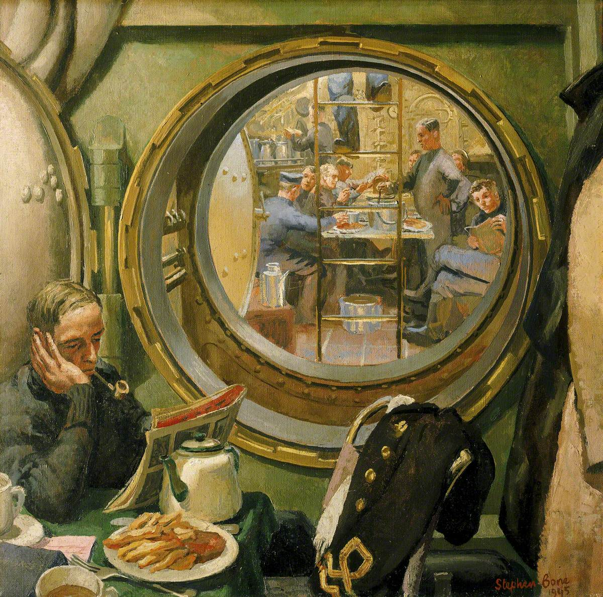 S-Class Submarine:The Wardroom and Forward Mess Deck Seen through the Davis Escape Chamber
