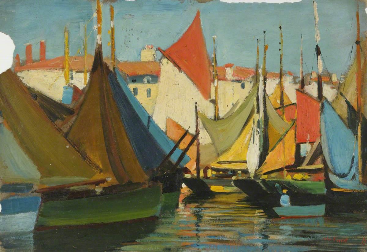 La Rochelle: Fishing Boats in the Harbour, off the Quai des Dames