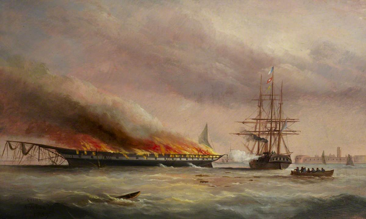Burning of the Troopship 'Eastern Monarch' at Spithead, June 1859
