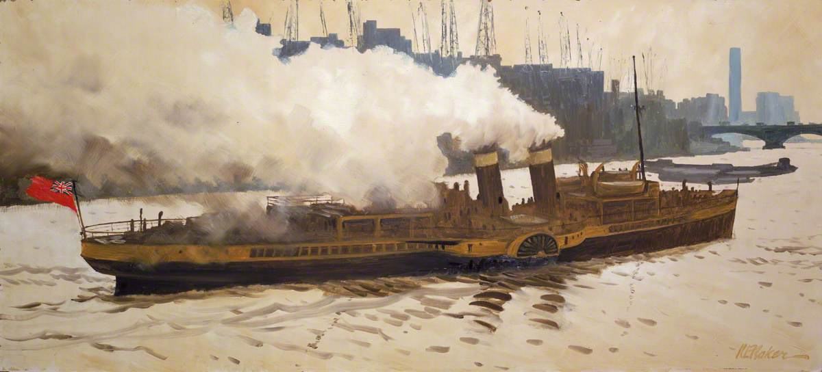 The Paddle Steamer 'Queen of the South' in the Pool of London
