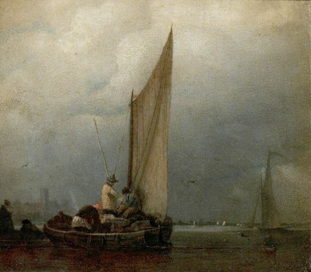 A River Scene with Barges