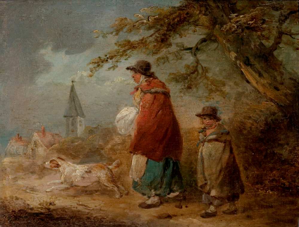 Woman, Child and Dog on a Road