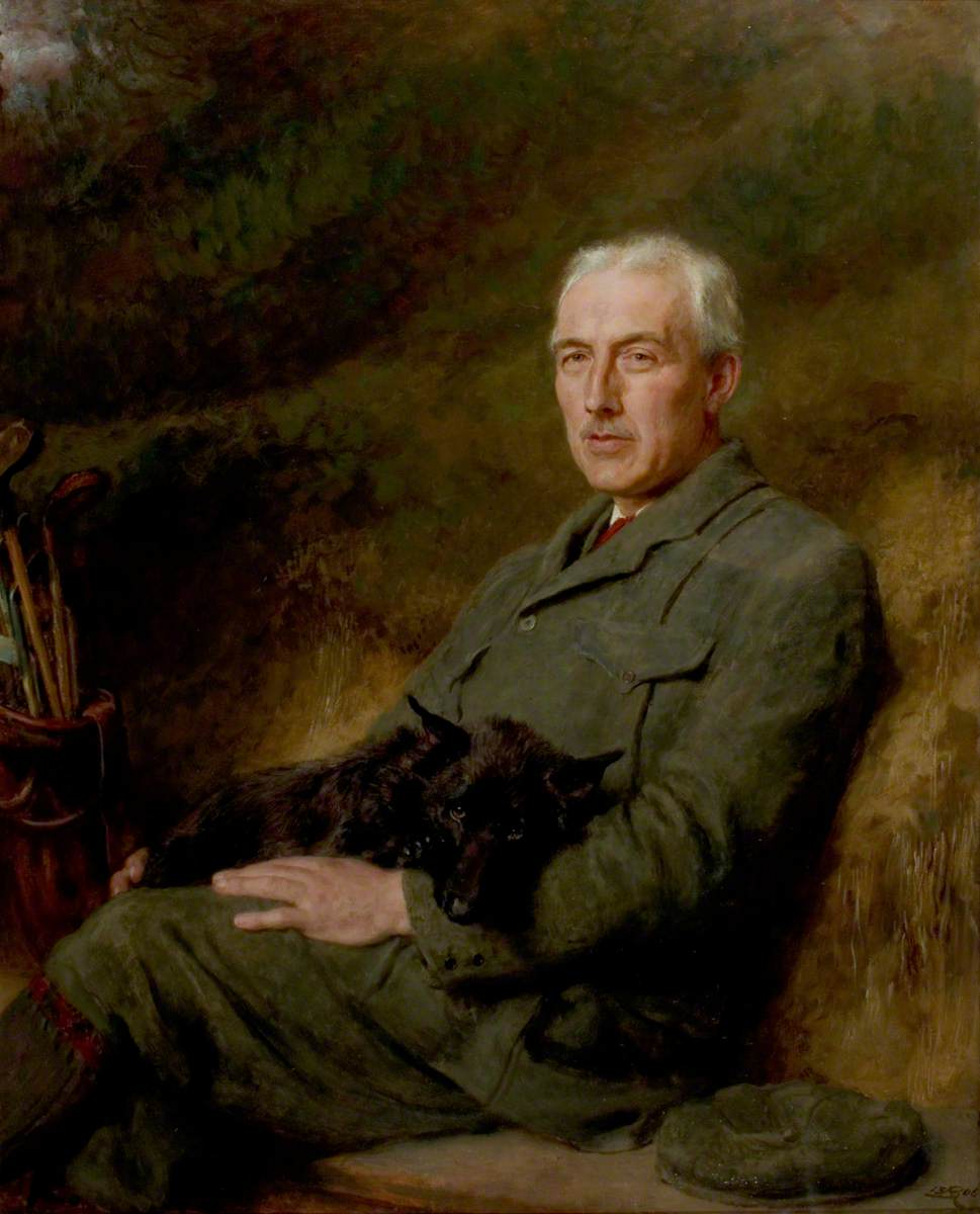 Portrait of an Unidentified Gentleman with a Dog and Golf Clubs*