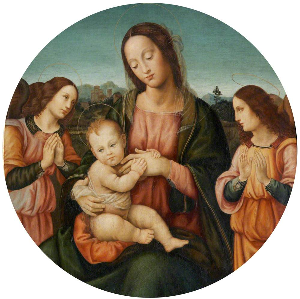 The Madonna and Child with Two Angels