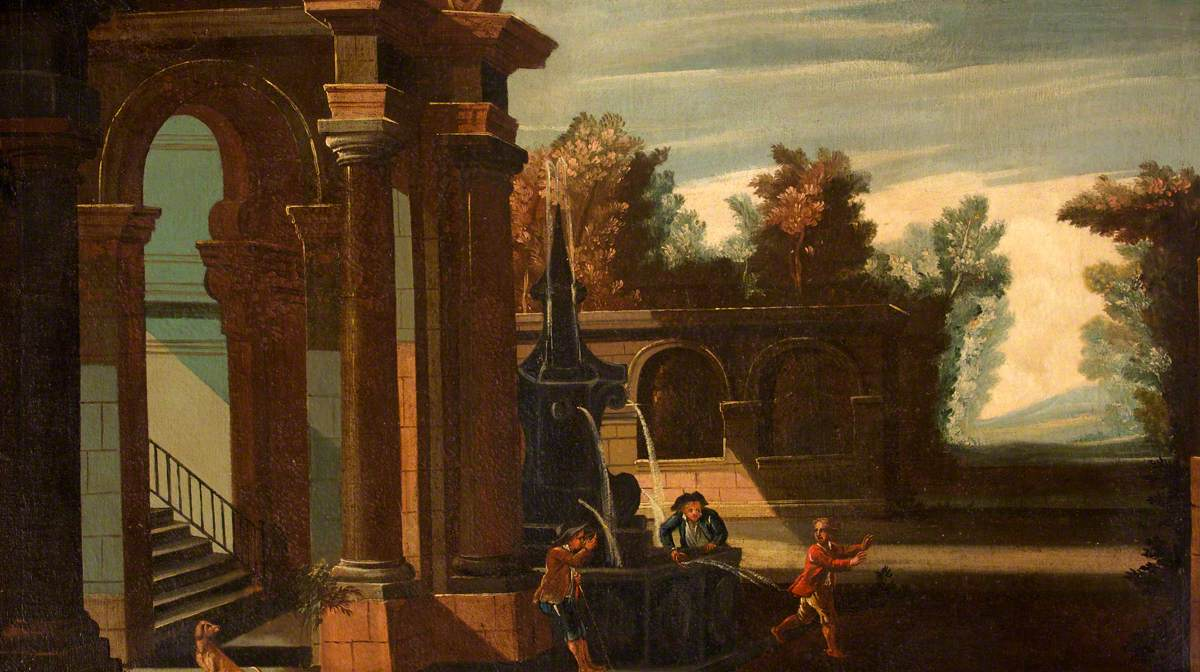 Landscape with Classical Architecture and Three Boys Playing with a Water Surprise