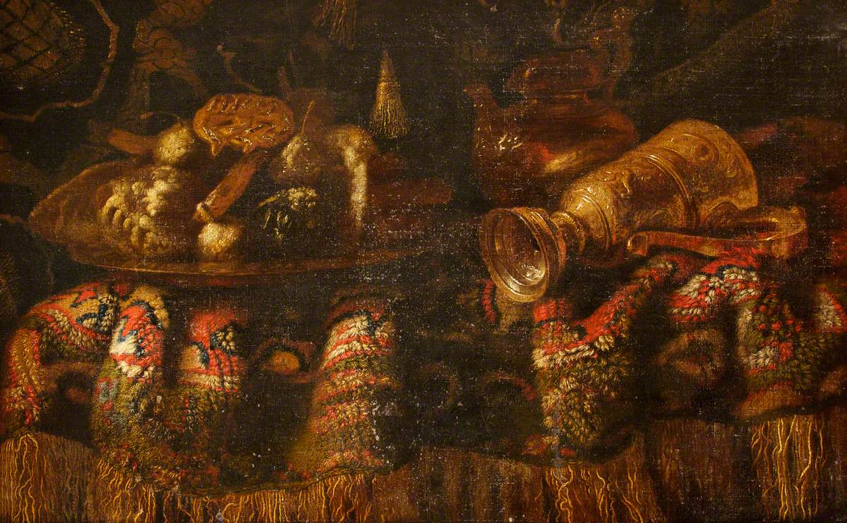 Still Life with a Rich Rug, a Gold Plate, a Nautilus Shell Cup Topped with a Cupid and a Bust of Diana