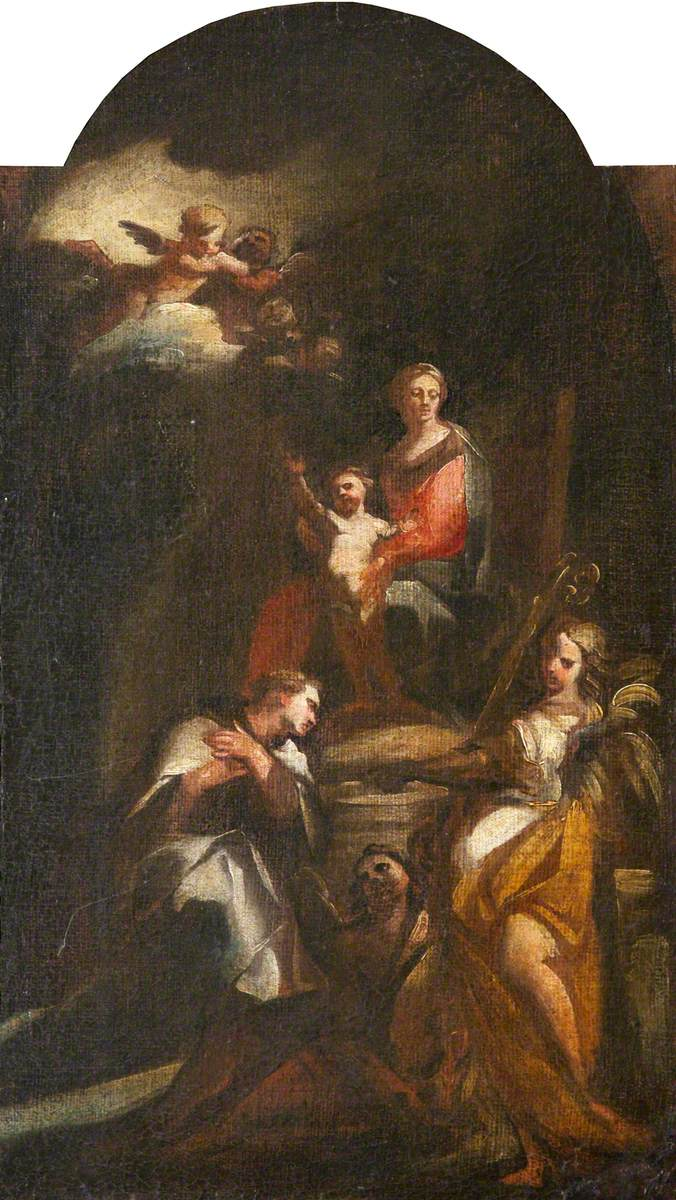 The Virgin and Child Enthroned, Adored by a Bishop-Saint with an Angel