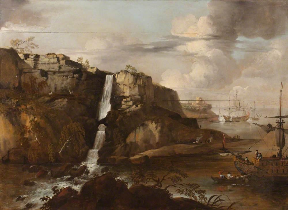 Capriccio of a Rocky Coast with Llanrhaeadr Falls and Ships