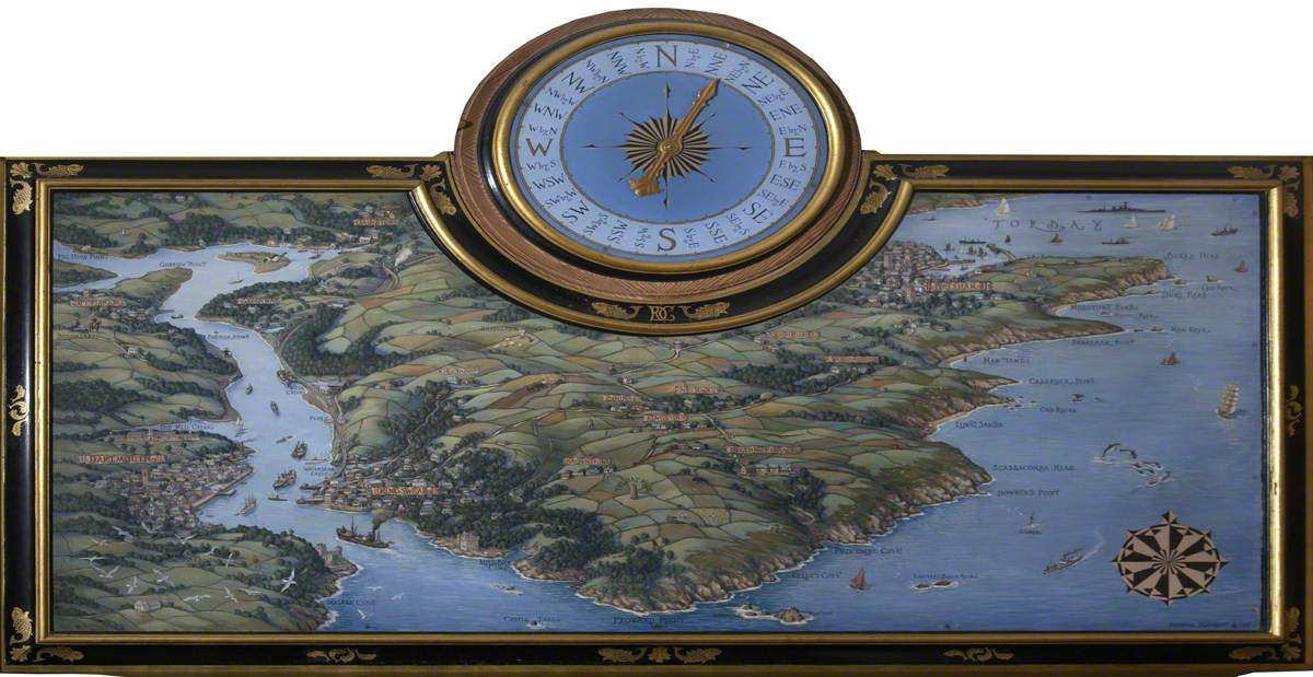A Bird's-Eye Map View of the Kingswear Peninsula with a Wind Dial